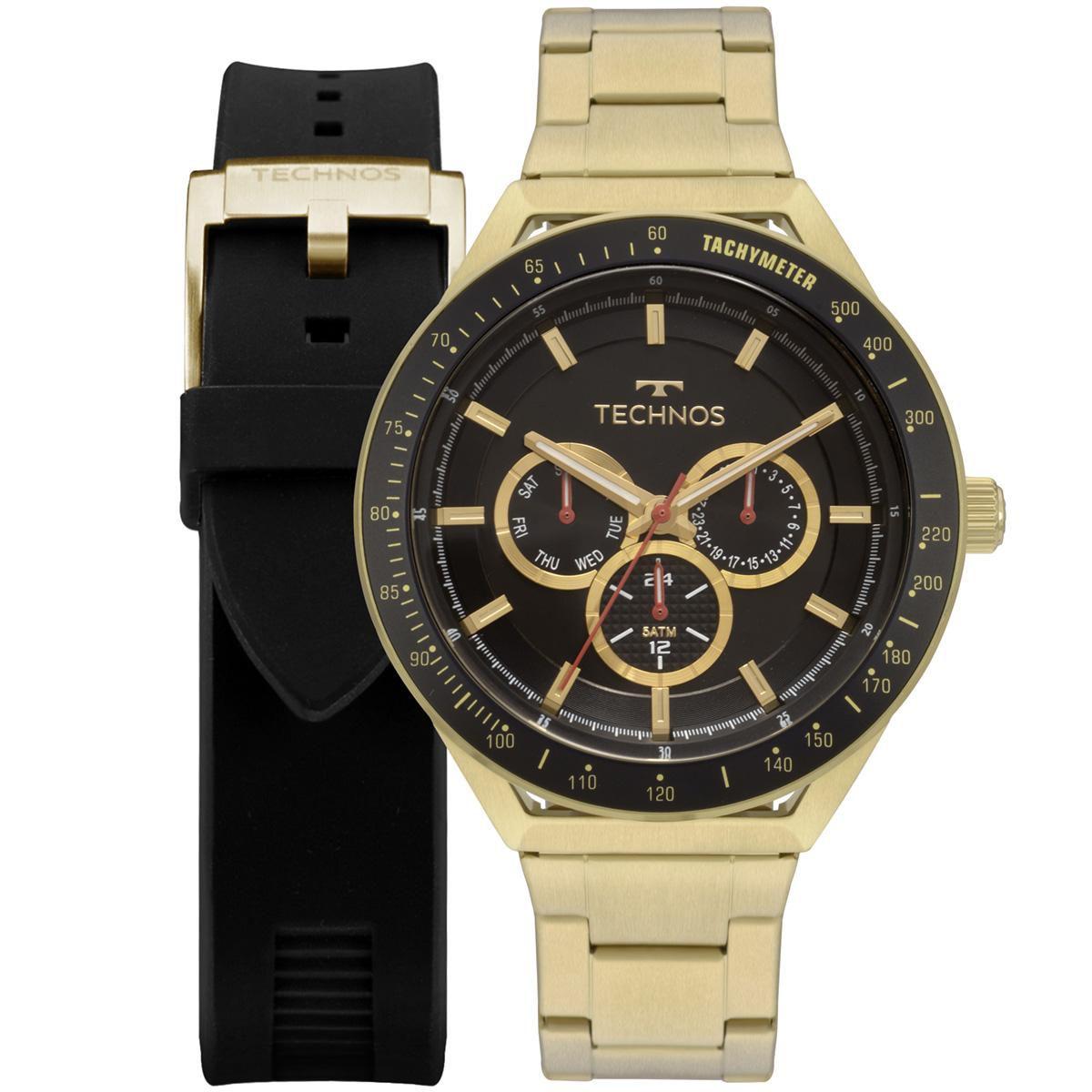 Relógio Masculino Technos Skymaster 6P29AKA/T2P 47mm Aço Dourado