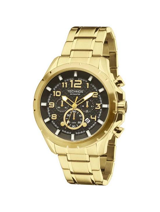 Relógio Masculino Technos Skymaster JS25BF/4P 47mm Dourado