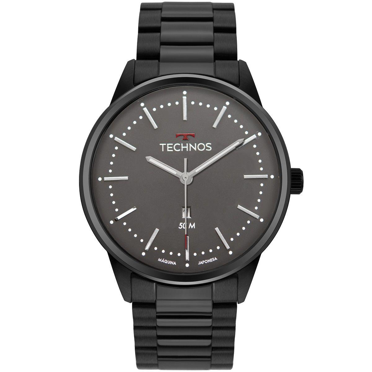 Relógio Masculino Technos Steel 2015CDW/4C 44mm Aço Preto