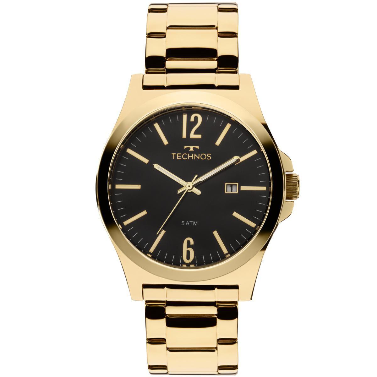 Relógio Masculino Technos Steel 2115LAN/4P 43mm Aço Dourado