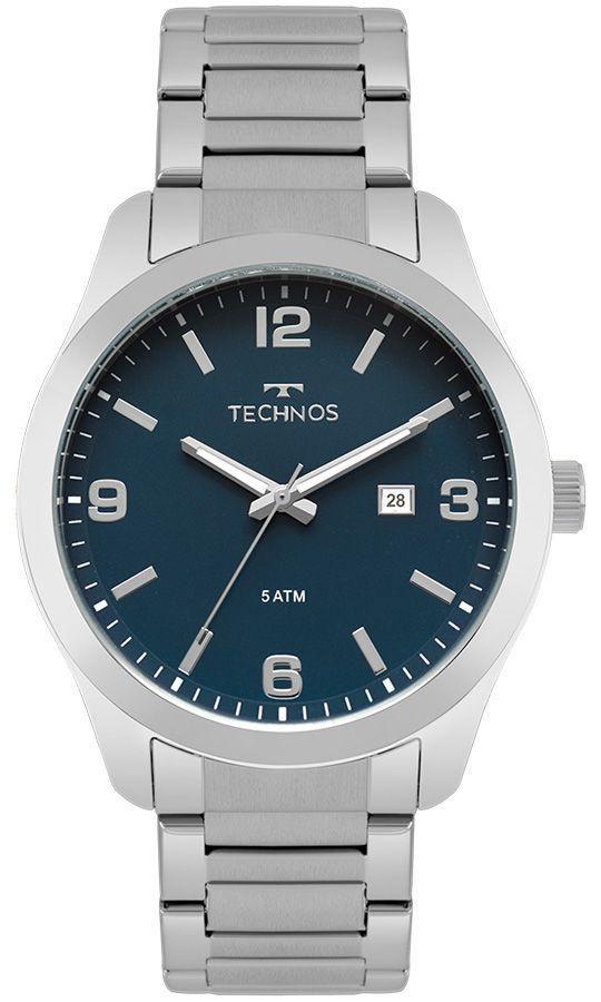 Relógio Masculino Technos Steel 2115MPK/1A 43mm Aço Prata