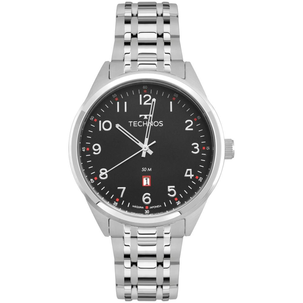 Relógio Masculino Technos Steel 2115MSA/1P 45mm Aço Prata