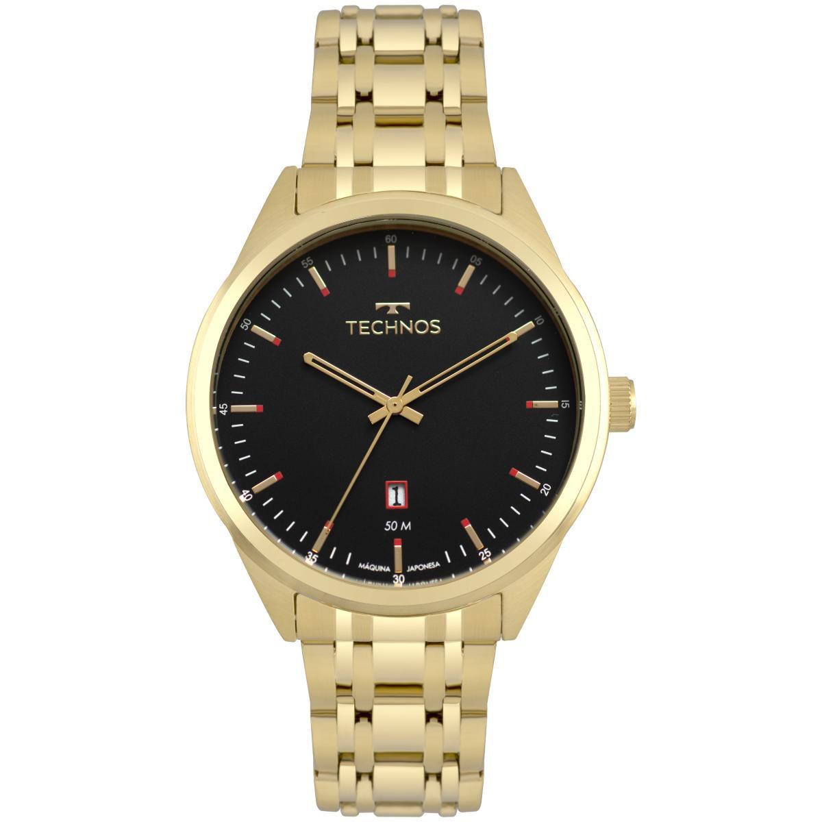 Relógio Masculino Technos Steel 2115MSB/4P 45mm Aço Dourado