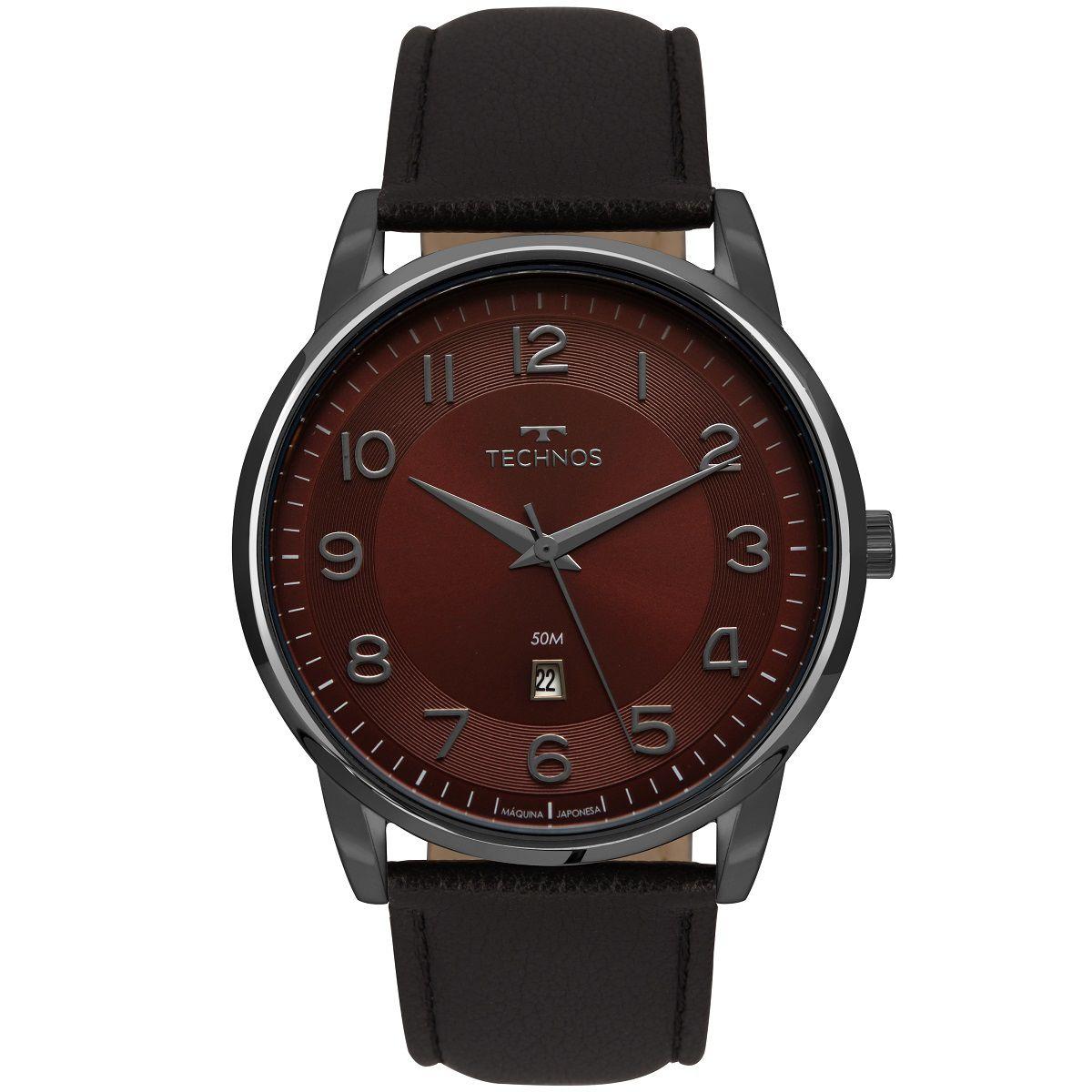 Relógio Masculino Technos Steel 2117LBG/2N 43mm Couro Preto