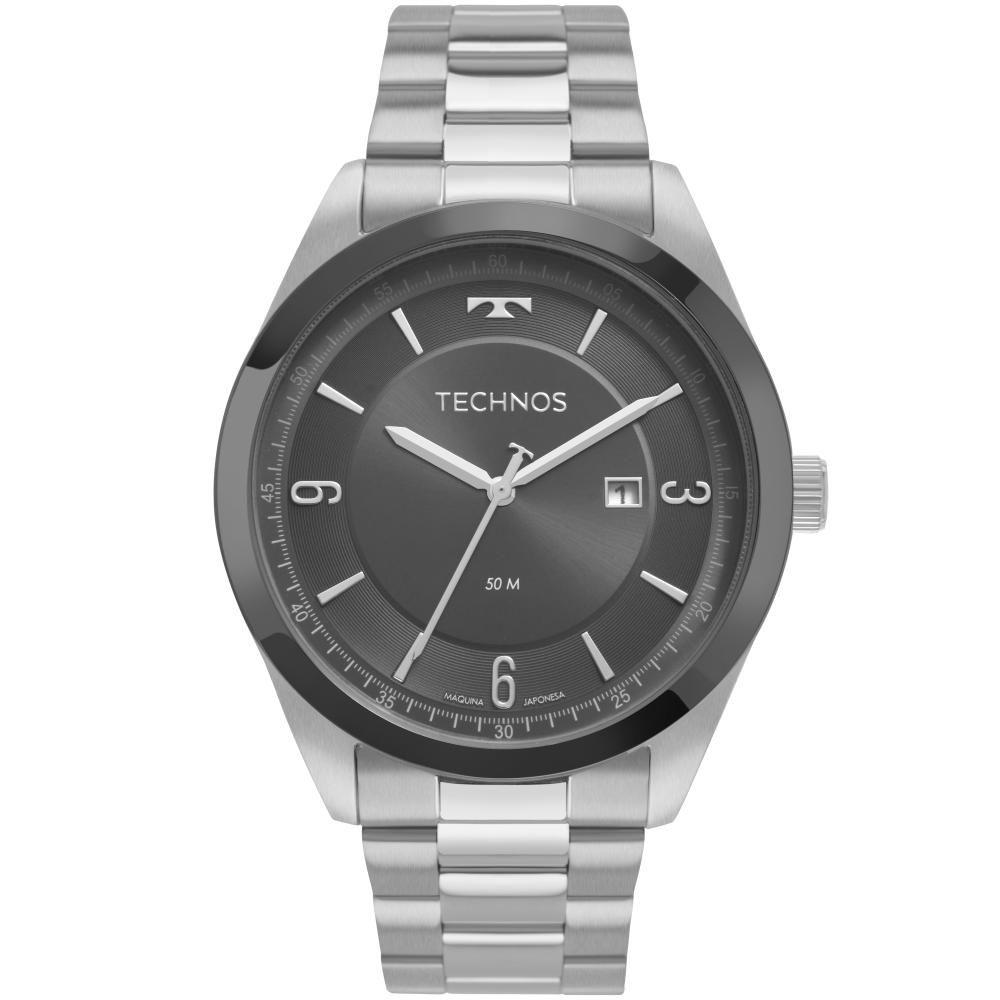 Relógio Masculino Technos Steel 2117LBQ/1C 44mm Aço Prata