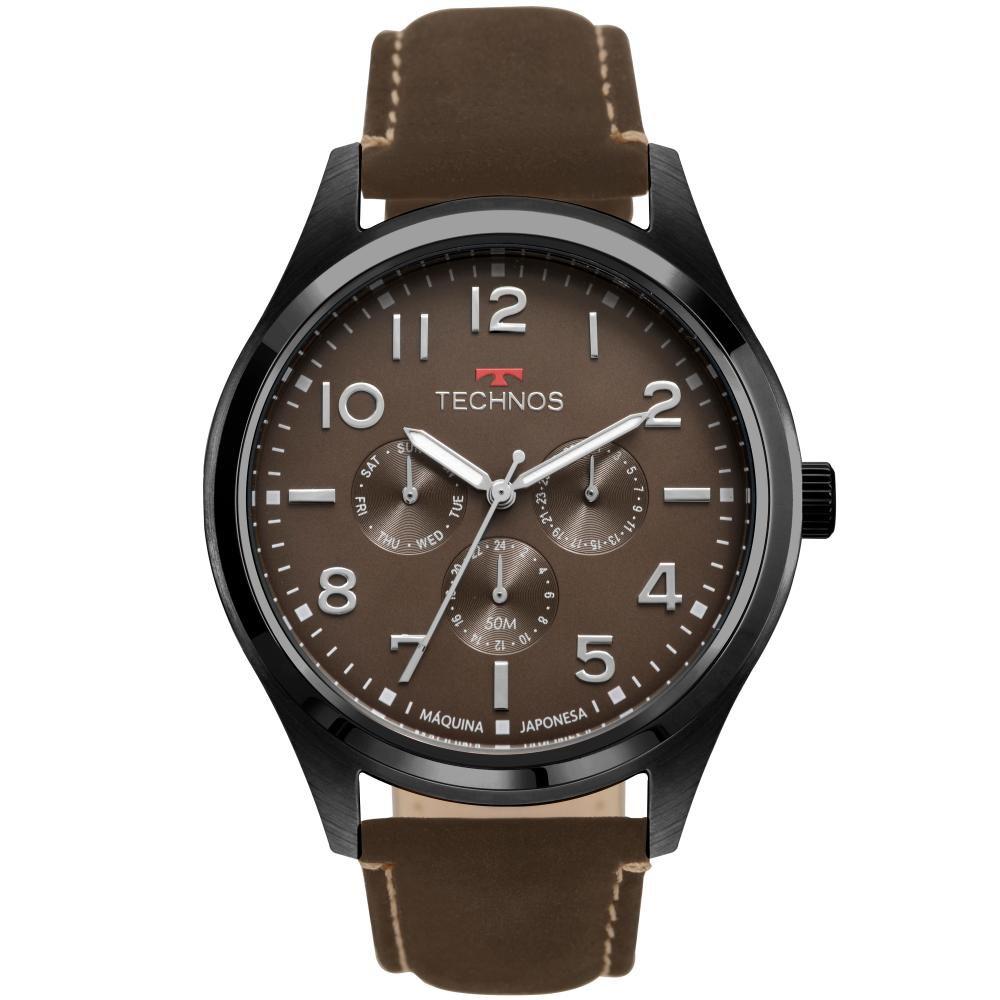 Relógio Masculino Technos Steel 6P29AKL/2P 46mm Couro Marrom
