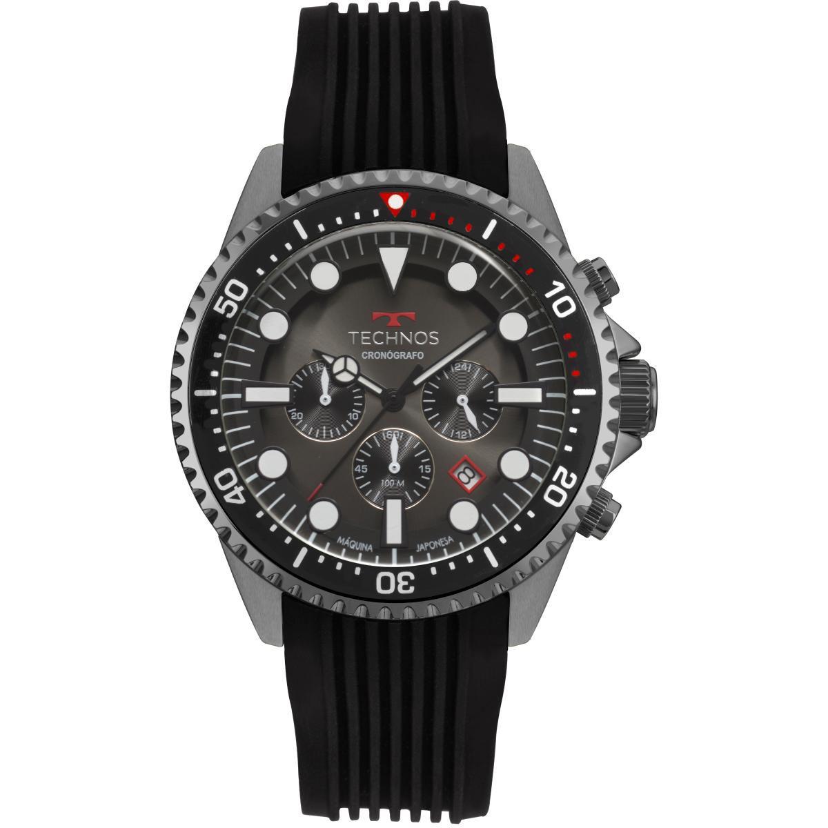 Relógio Masculino Technos Symaster JS25CC/8P 48mm Silicone Preto