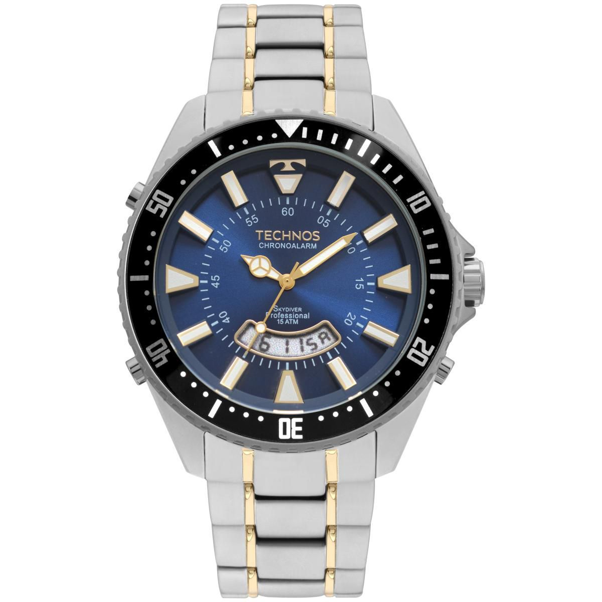 Relógio Masculino Technos T205JH/1A 48mm Aço Bicolor Prata/Dourado
