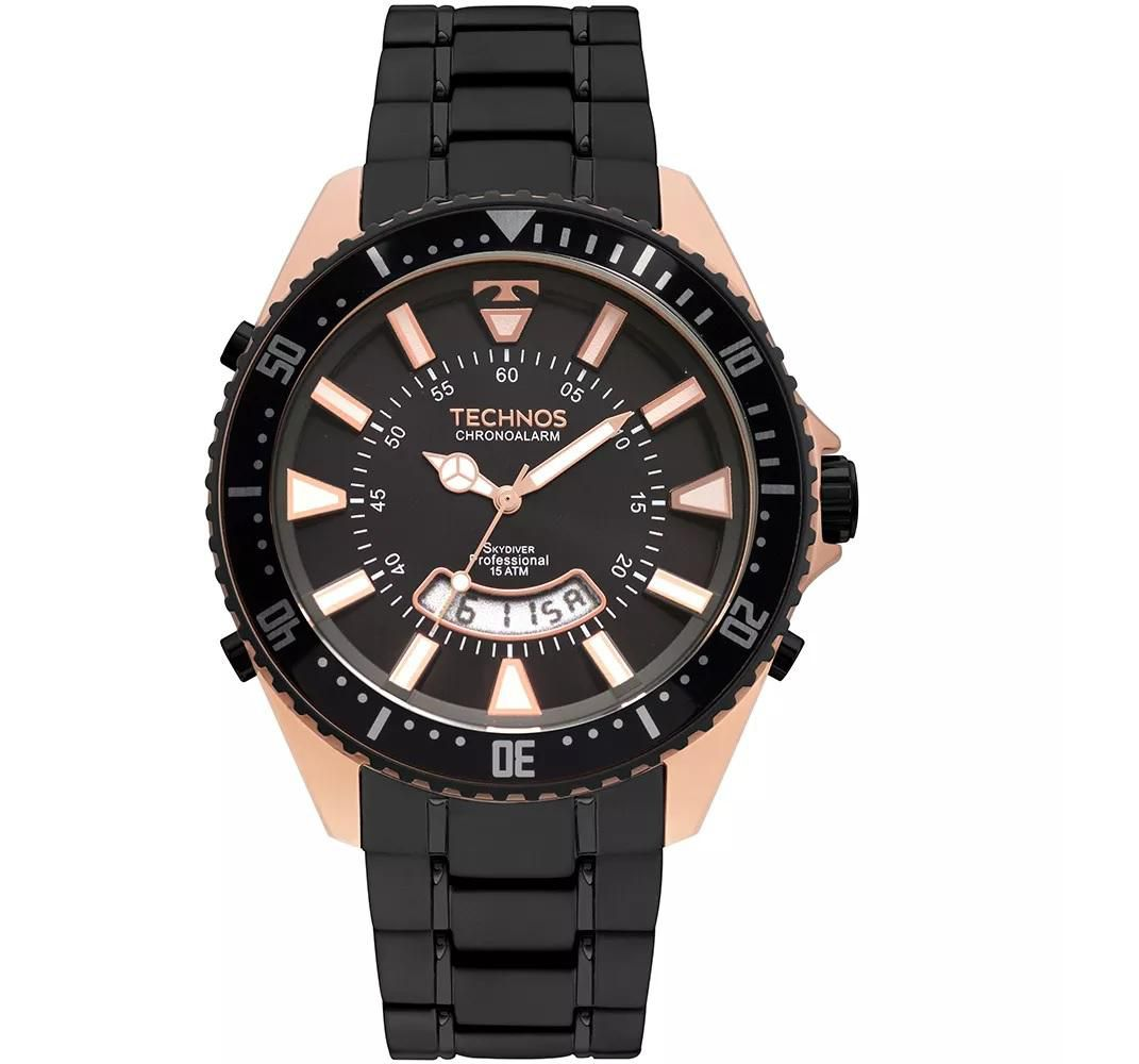Relógio Masculino Technos T205JJ/4P 48mm Aço Preto