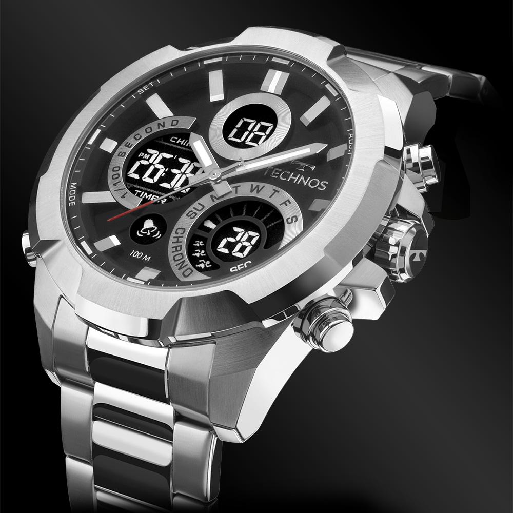 Relógio Masculino Technos W23721AAC/1P 48mm Aço Prata