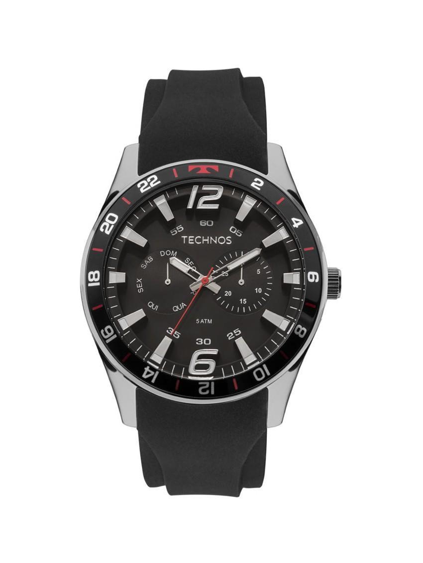 Relógio Mascunilo Technos Racer 6P25BN/8P 46mm Silicone Preto