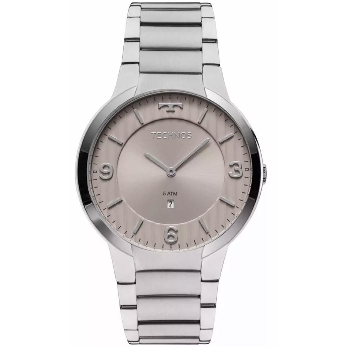 Relógio Technos Slim GL15AO/1C 42mm Aço Prata