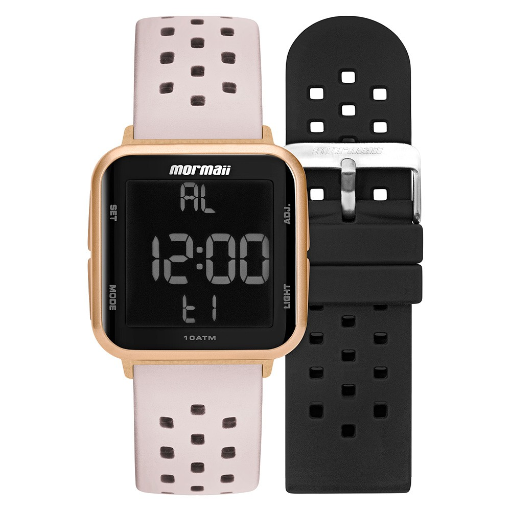 Relógio Unissex Mormaii Digital MO6600AJ/T8T 38mm Pulseira Silicone Preta e Offwhite