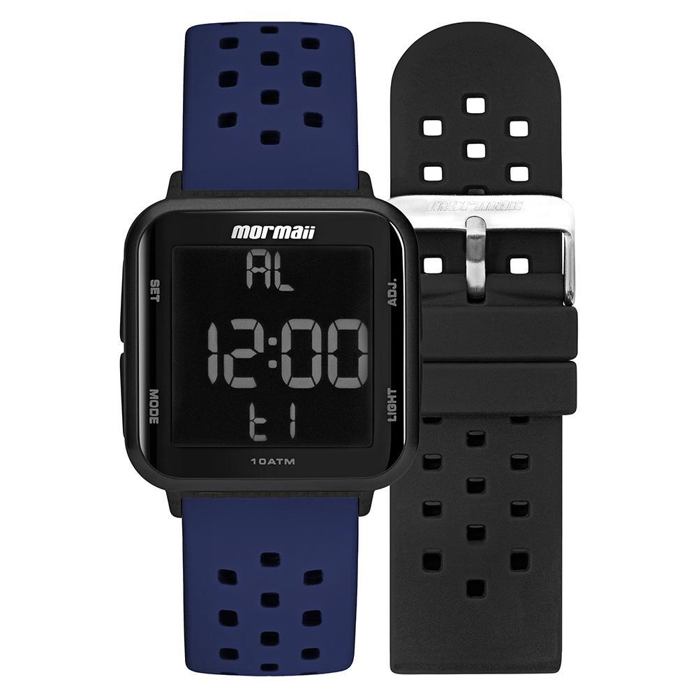 Relógio Unissex Mormaii Digital MO6600AN/T8A 38mm Pulseira Silicone Preta e Azul