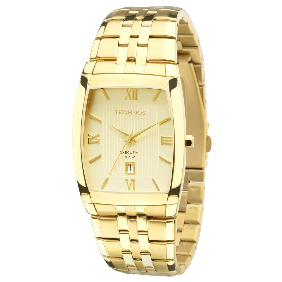 Relógio Unissex Technos Executive 1N12MP/4X 32mm Aço Dourado