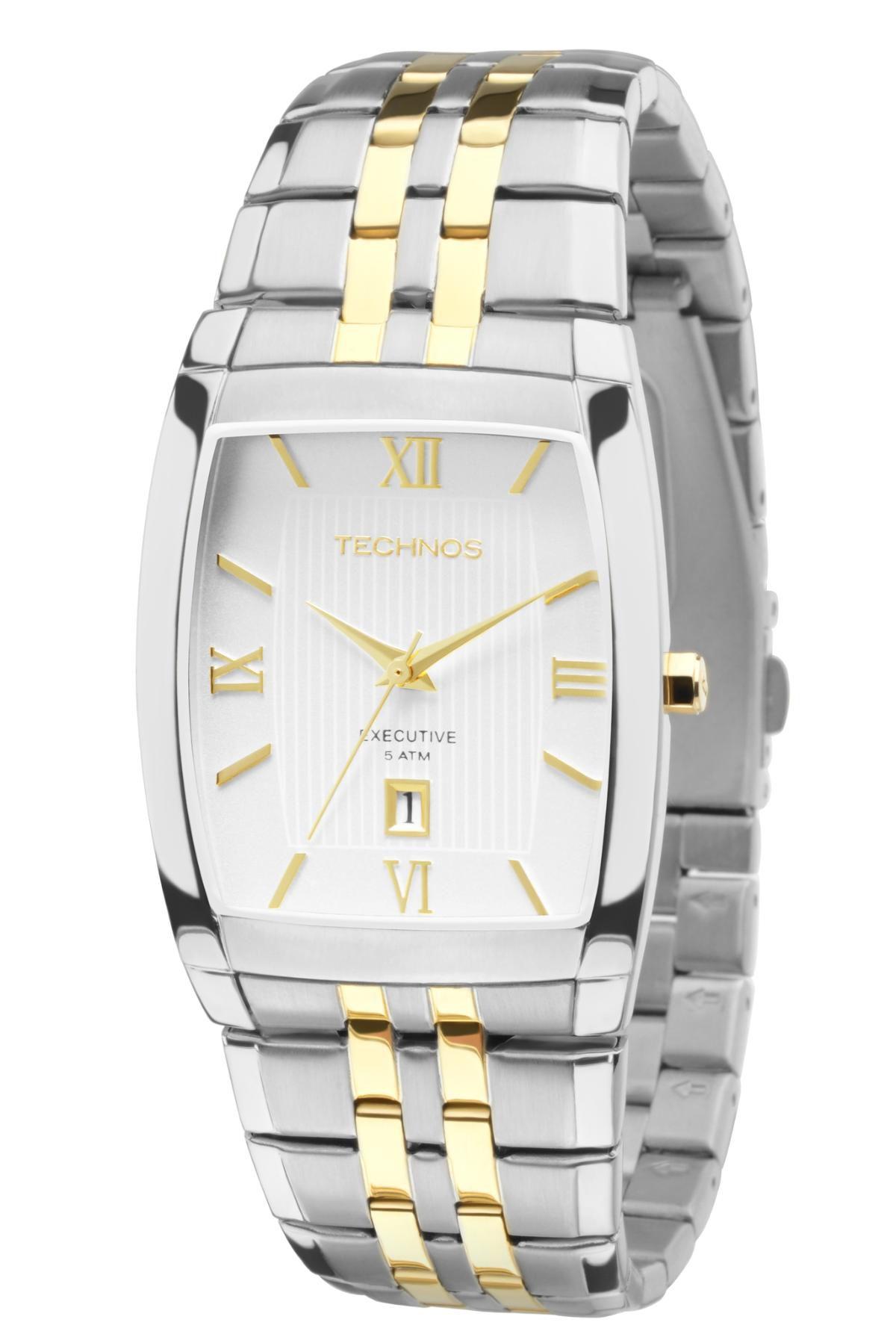 Relógio Unissex Technos Executive 1N12MQ/5B 32mm Aço Bicolor Prata com Dourado