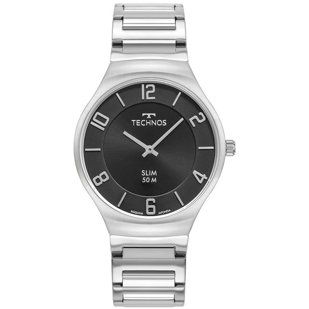 Relógio Unissex Technos Slim 1L22WJ/1C 40mm Aço Prata