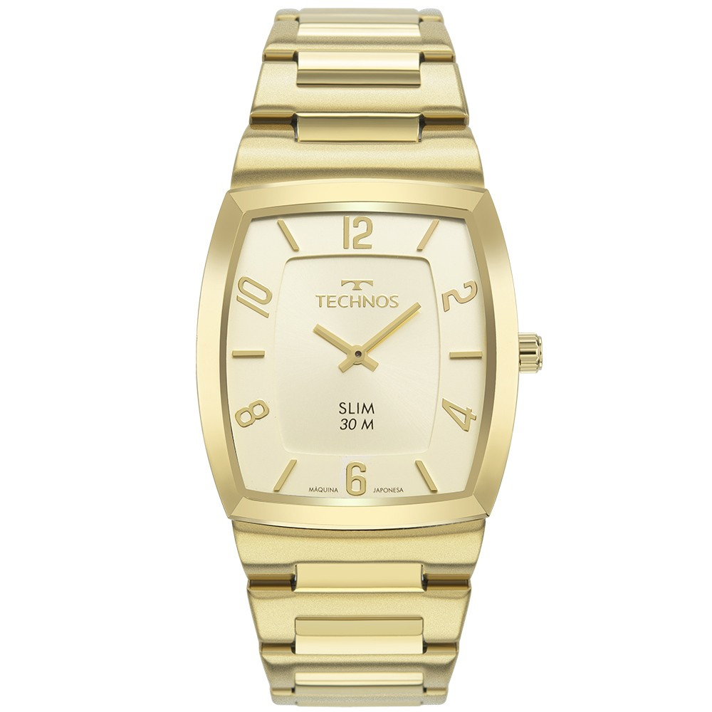 Relógio Unissex Technos Slim 1L22WL/1D 36mm Aço Dourado