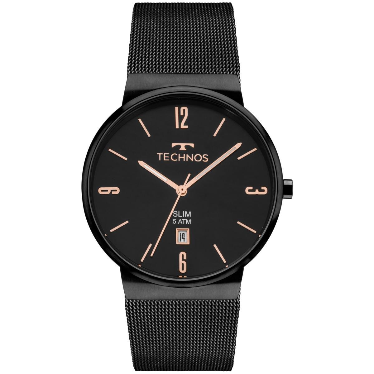 Relógio Unissex Technos Slim GM10YJ/4P 40mm Aço Preto