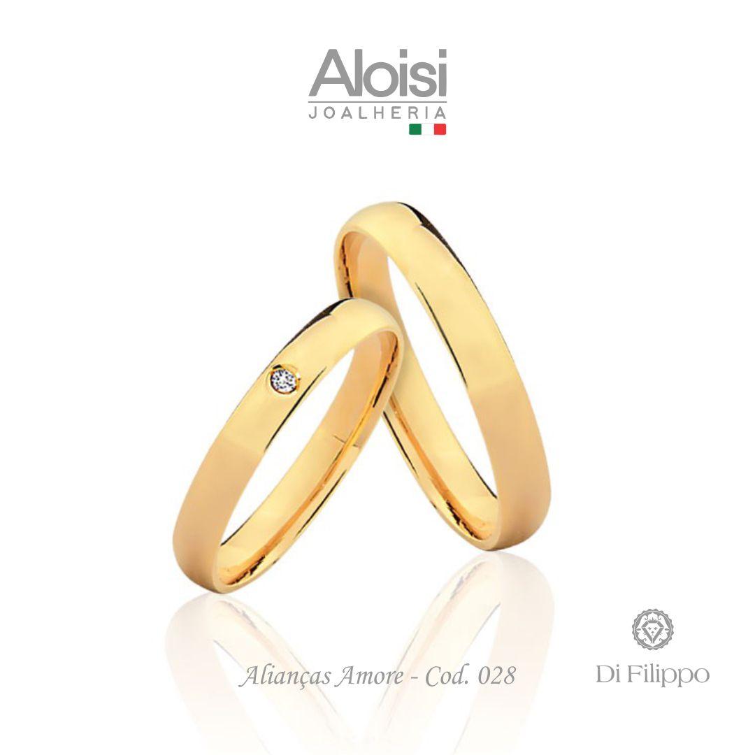 Par De Alianças De Casamento Amore Em Ouro Amarelo 18k