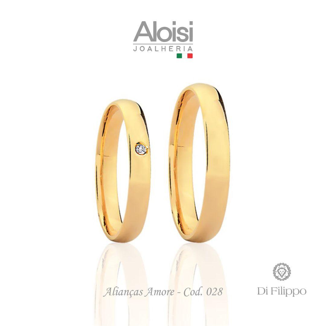 Aliança Casamento Ouro Amarelo 18k - Amore - Di Filippo