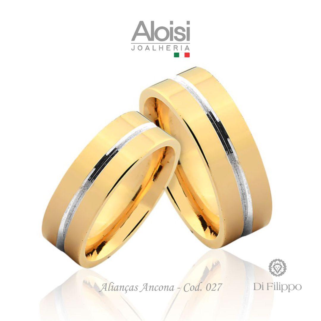 Par De Alianças De Casamento Ancona Em Ouro Amarelo 18k