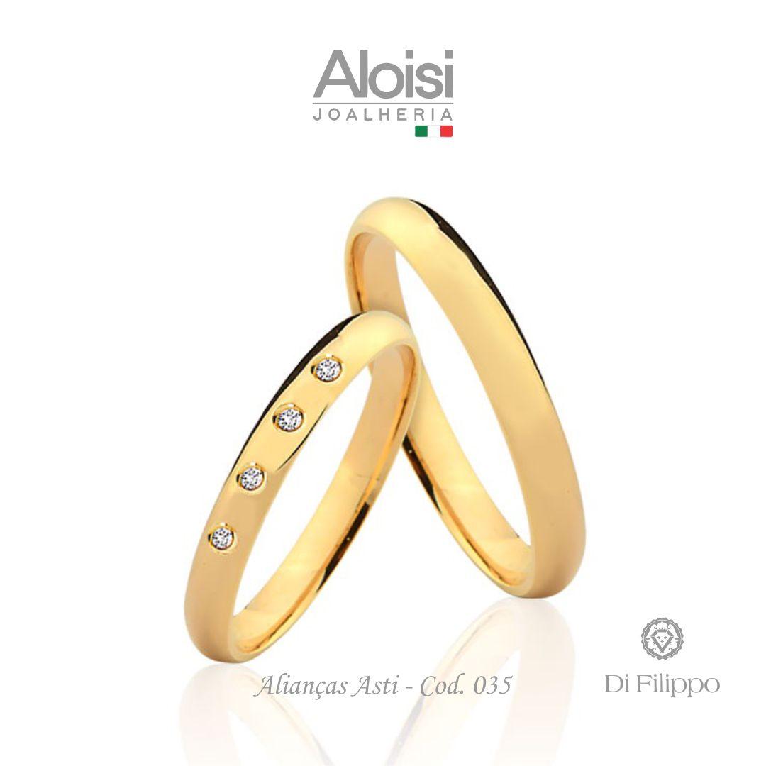 Par De Alianças Casamento Ouro Amarelo 18k - Asti - Di Filippo