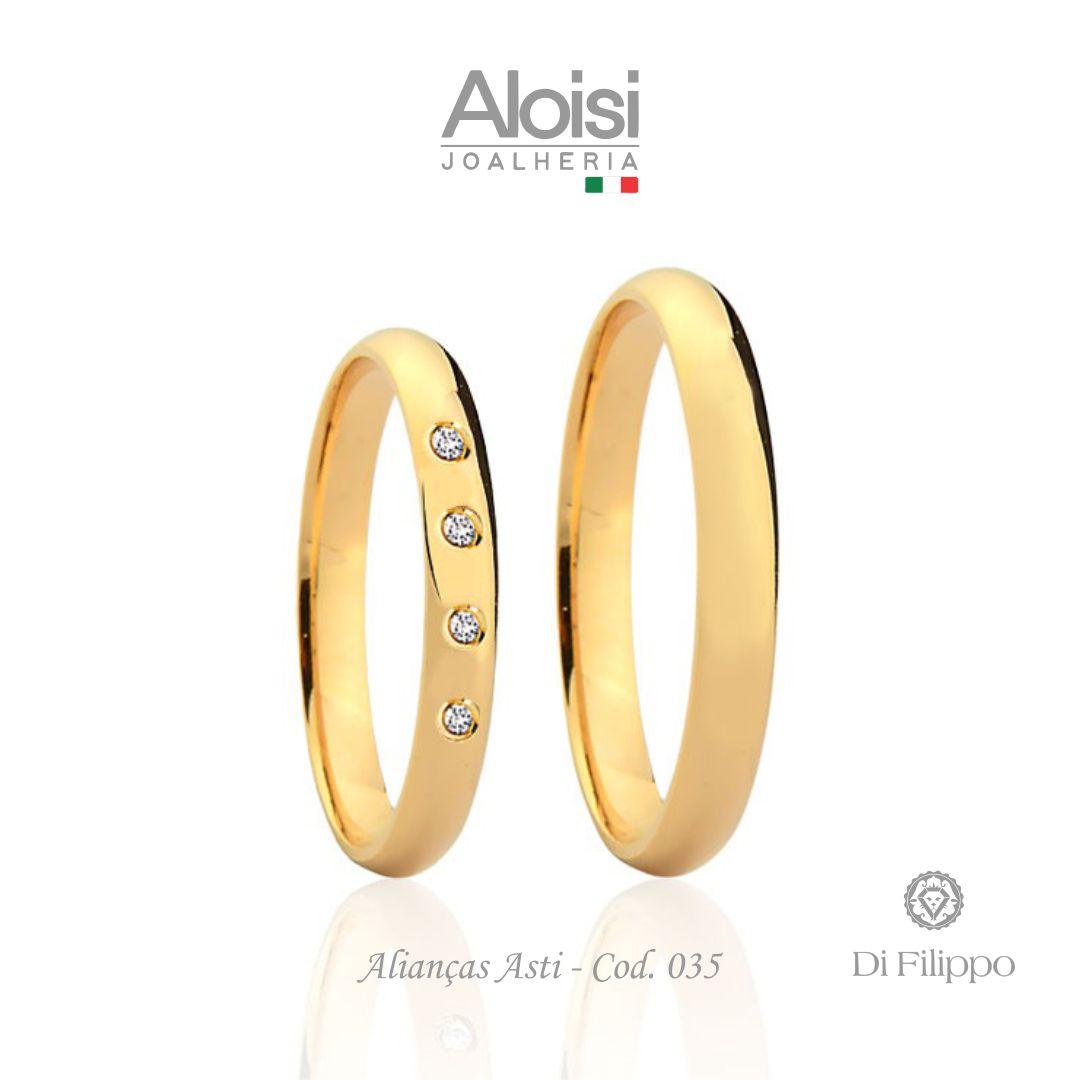 Aliança Casamento Ouro Amarelo 18k - Asti - Di Filippo