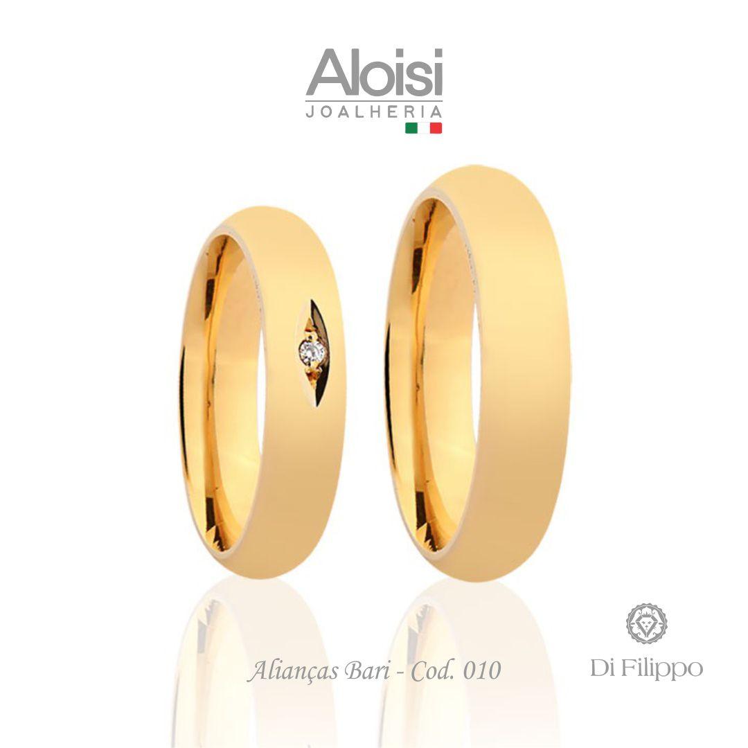 Par De Alianças De Casamento Bari Em Ouro Amarelo 18k