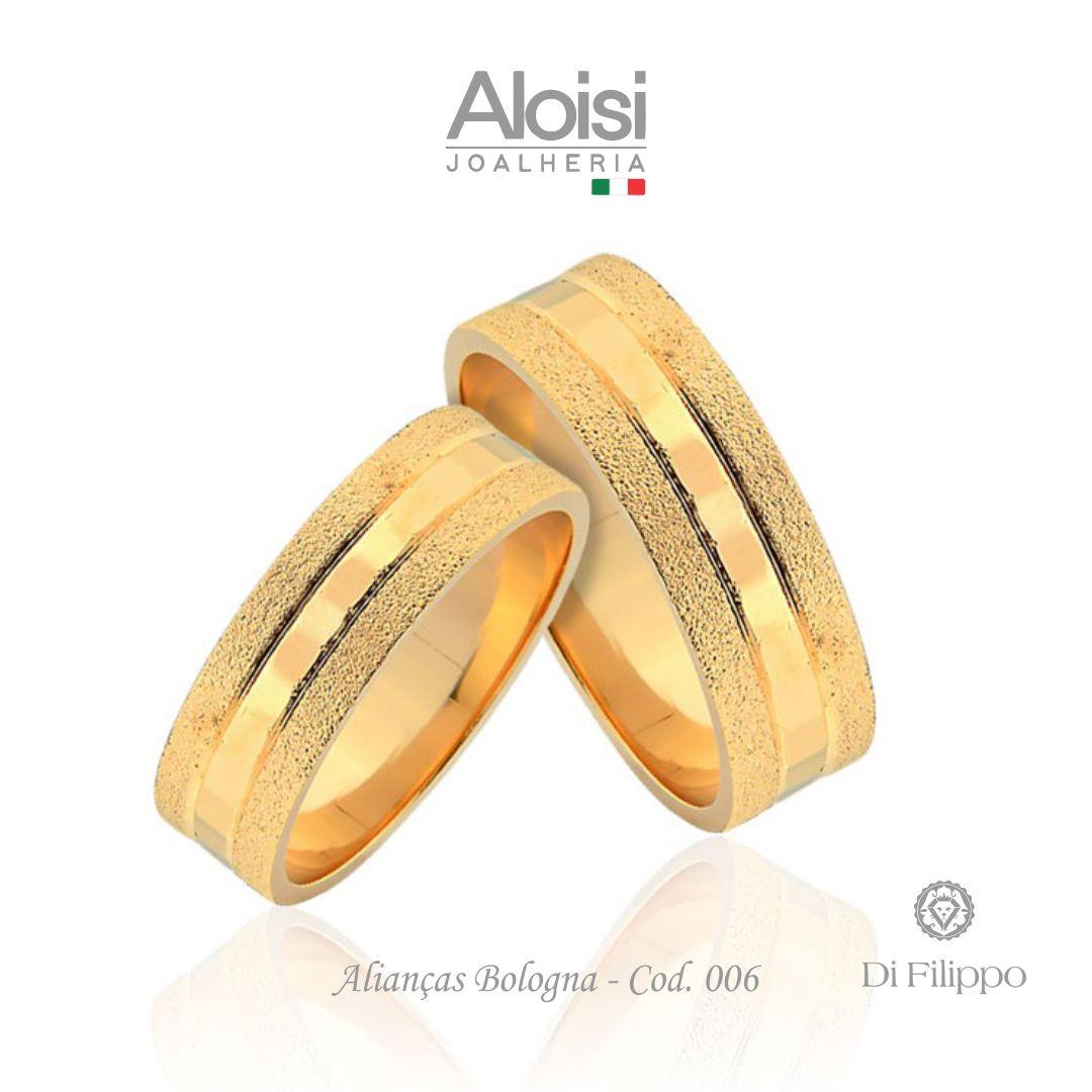Par De Alianças Casamento Ouro Amarelo 18k - Bologna - Di Filippo