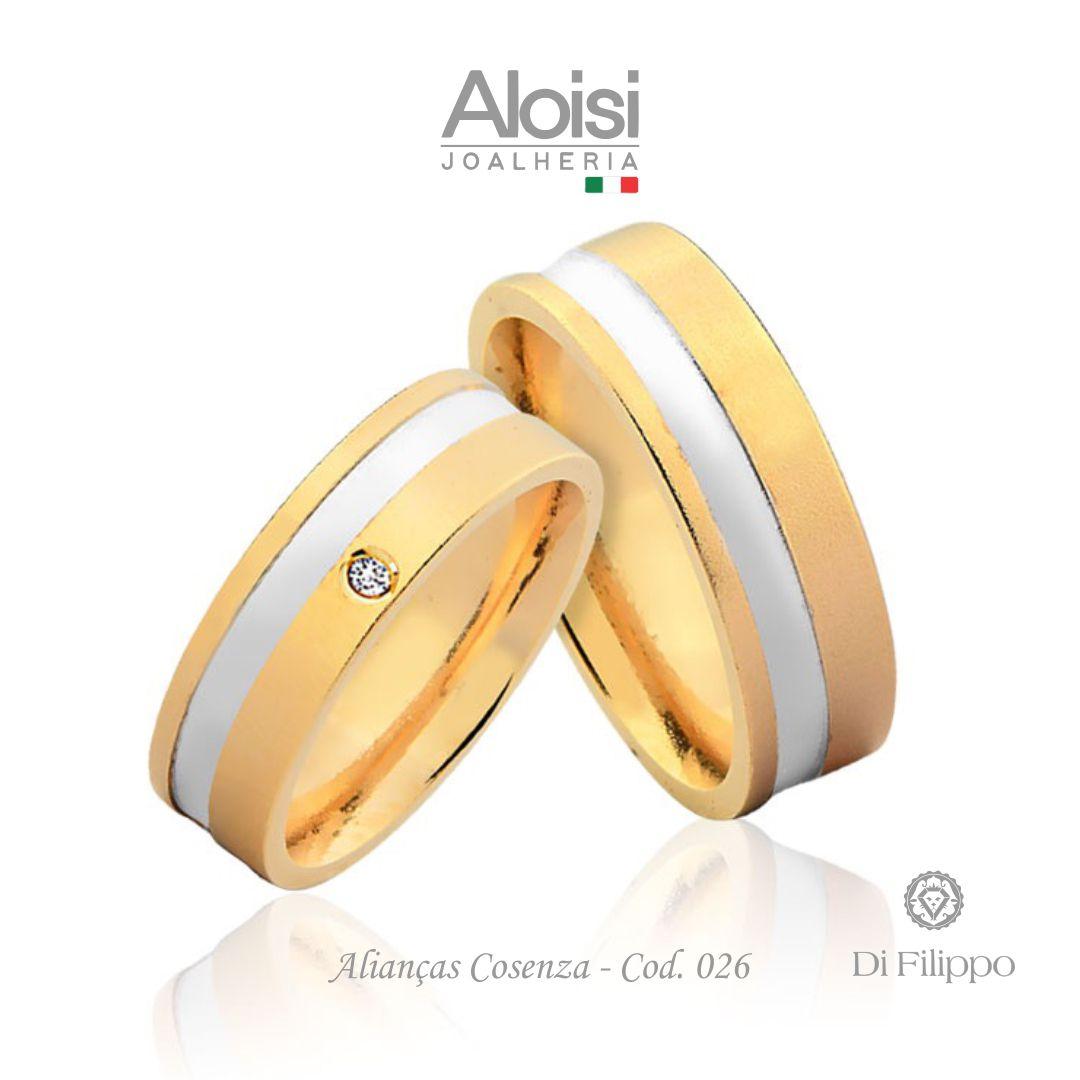 Par De Alianças Casamento Ouro Amarelo 18k - Cosenza - Di Filippo
