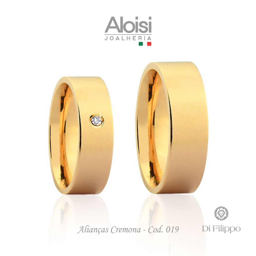 Par De Alianças De Casamento Cremona Em Ouro Amarelo 18k