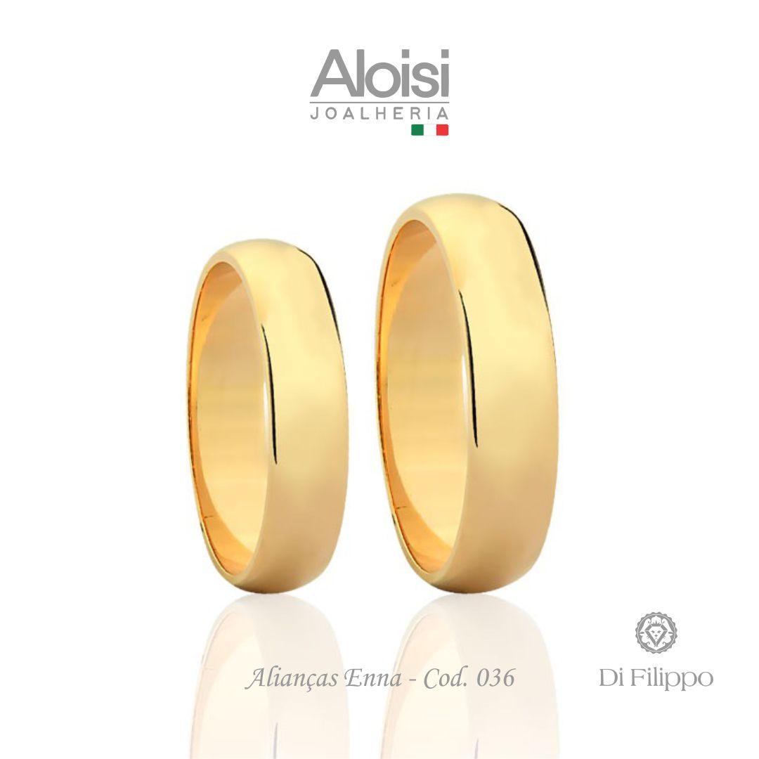 Par De Alianças De Casamento Enna Em Ouro Amarelo 18k