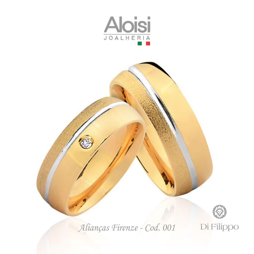 Aliança Casamento Ouro Amarelo 18k - Firenze - Di Filippo