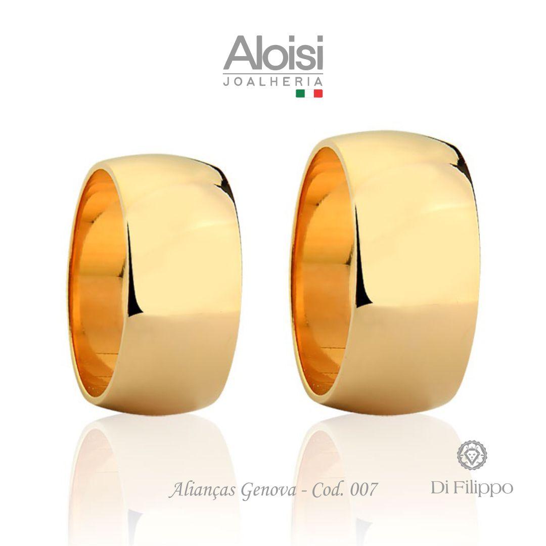 Par De Alianças De Casamento Ouro Amarelo Genova 18k