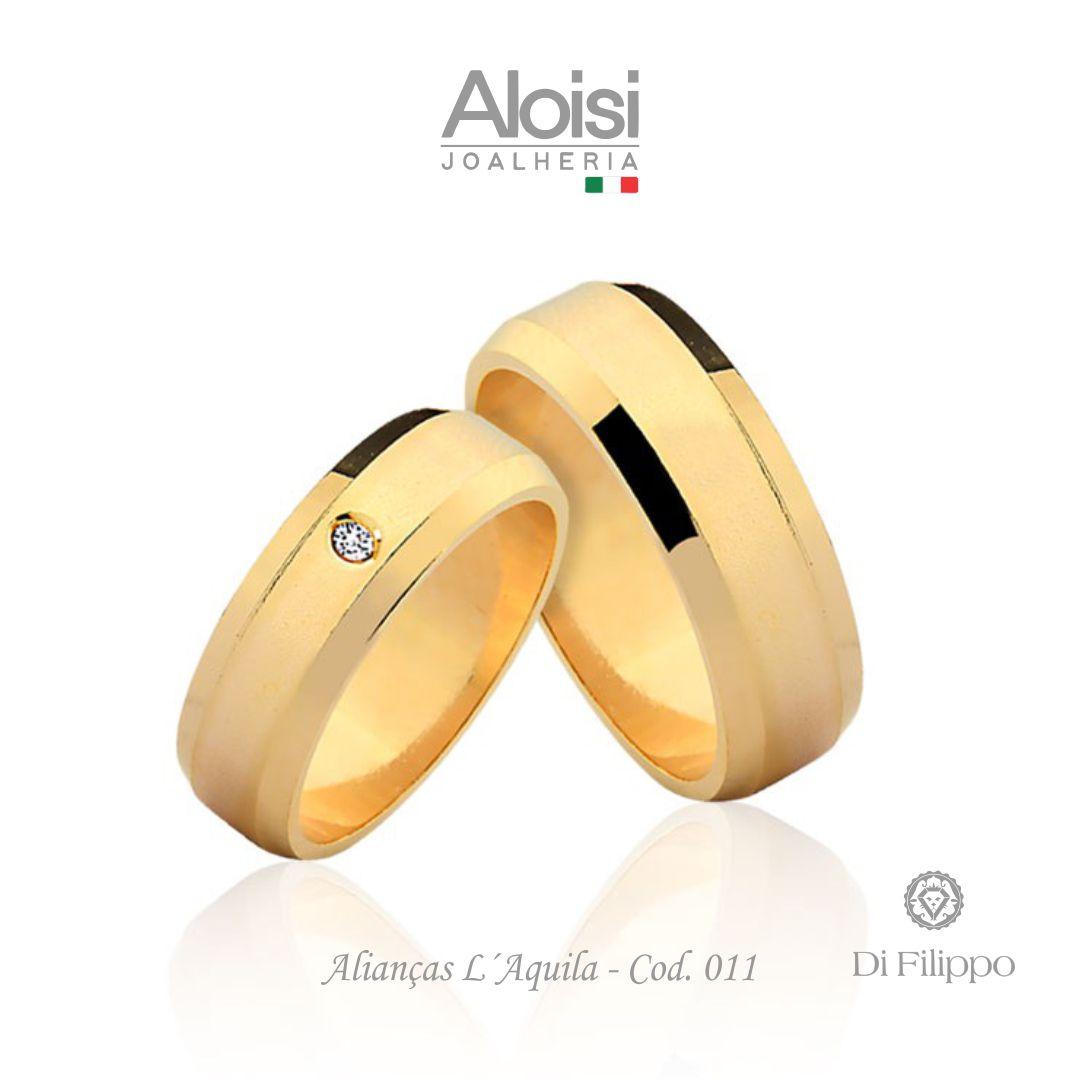 Par De Alianças Casamento Ouro Amarelo 18k - L'aquila - Di Filippo