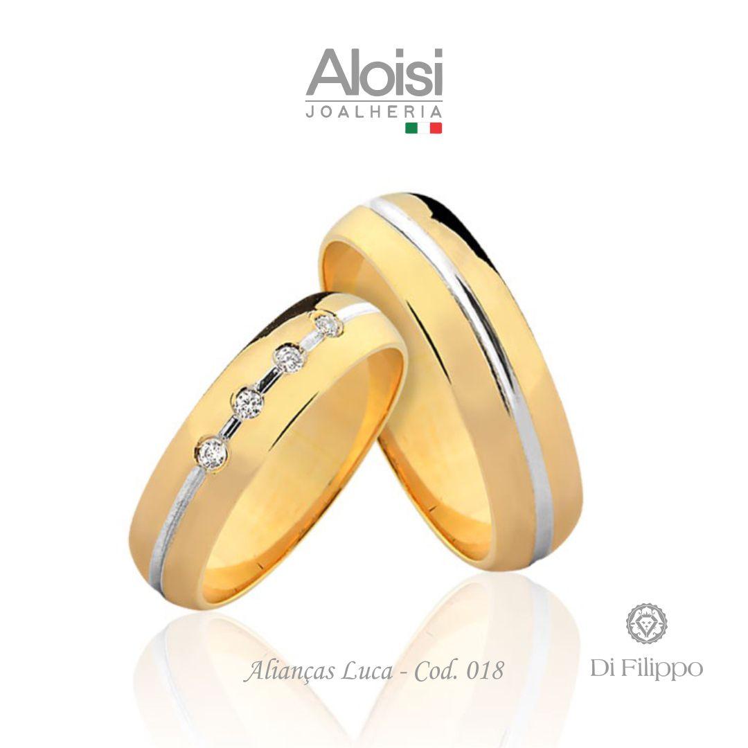 Par De Alianças Casamento Ouro Amarelo 18k - Luca - Di Filippo