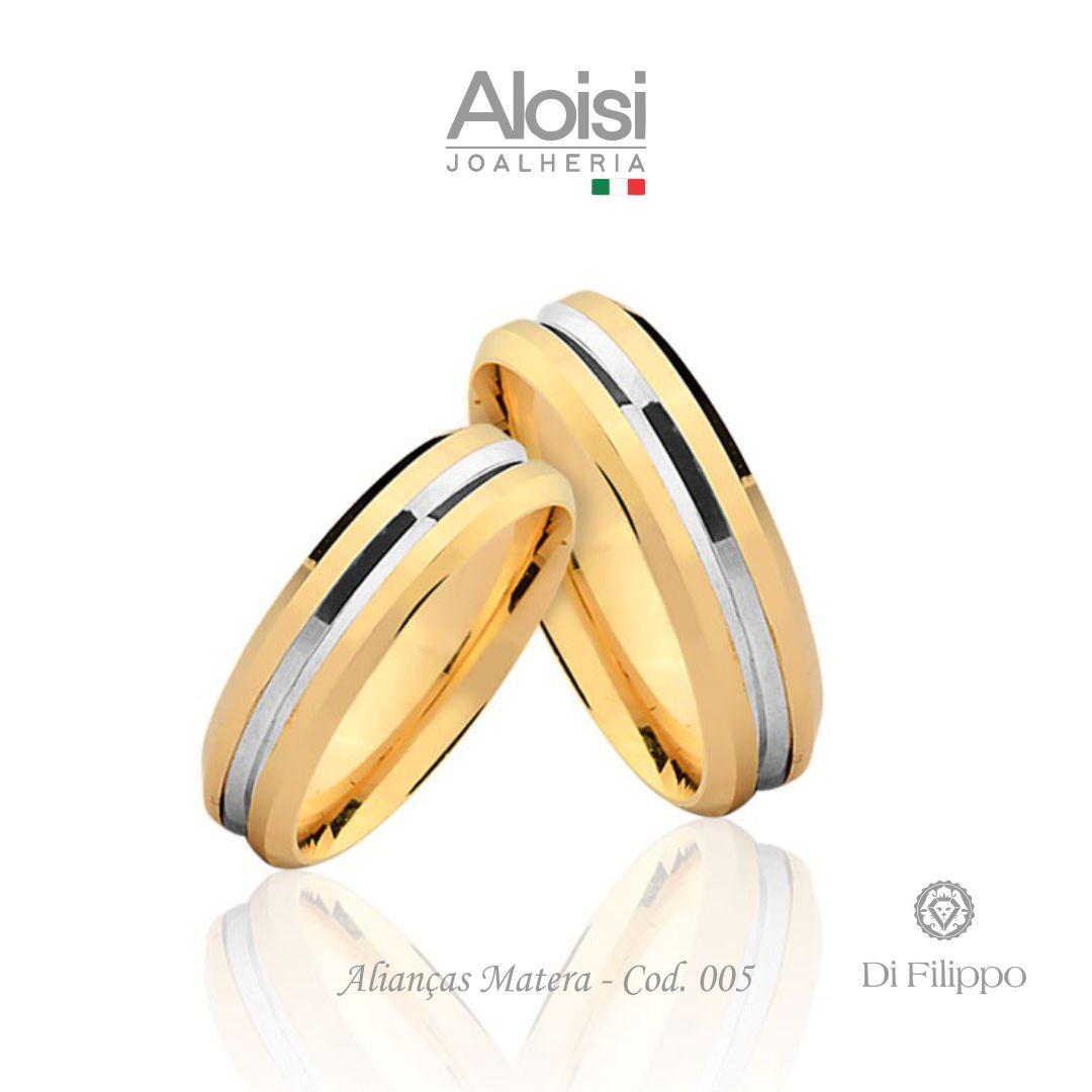 Par De Alianças De Casamento Matera Em Ouro Amarelo 18k