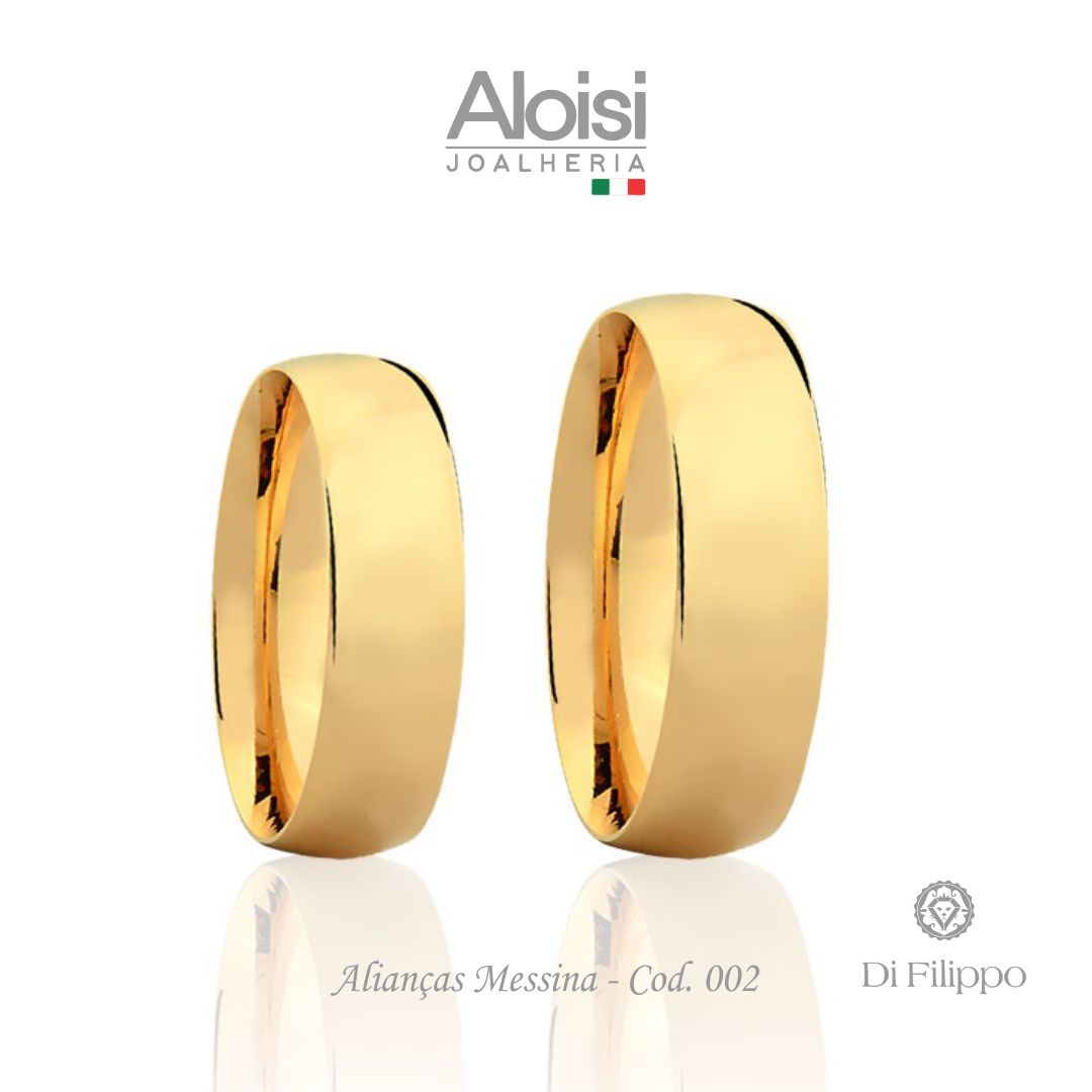 Par De Alianças De Casamento Messina Em Ouro Amarelo 18k