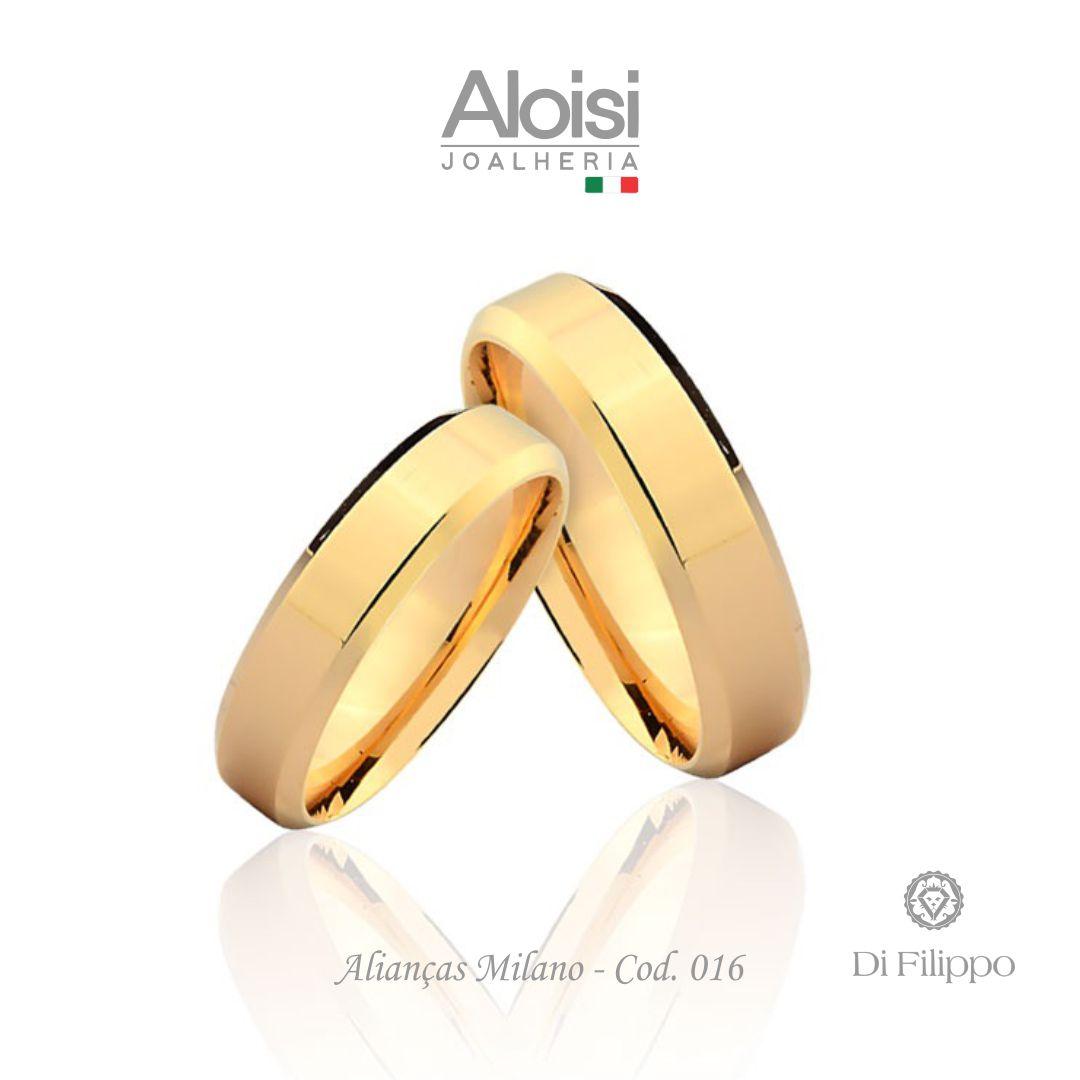 Par De Alianças Casamento Ouro Amarelo 18k - Milano - Di Filippo