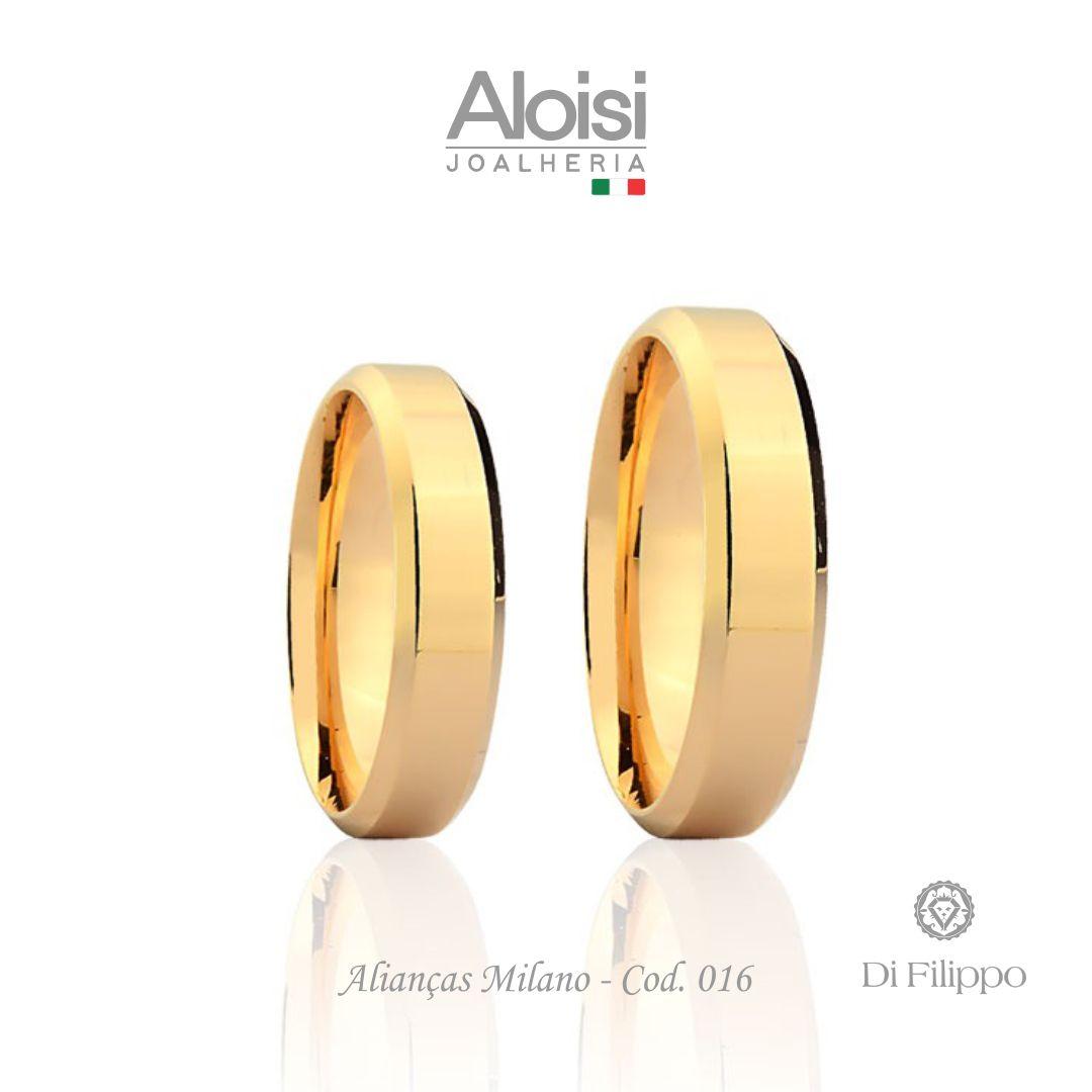 Aliança Casamento Ouro Amarelo 18k - Milano - Di Filippo