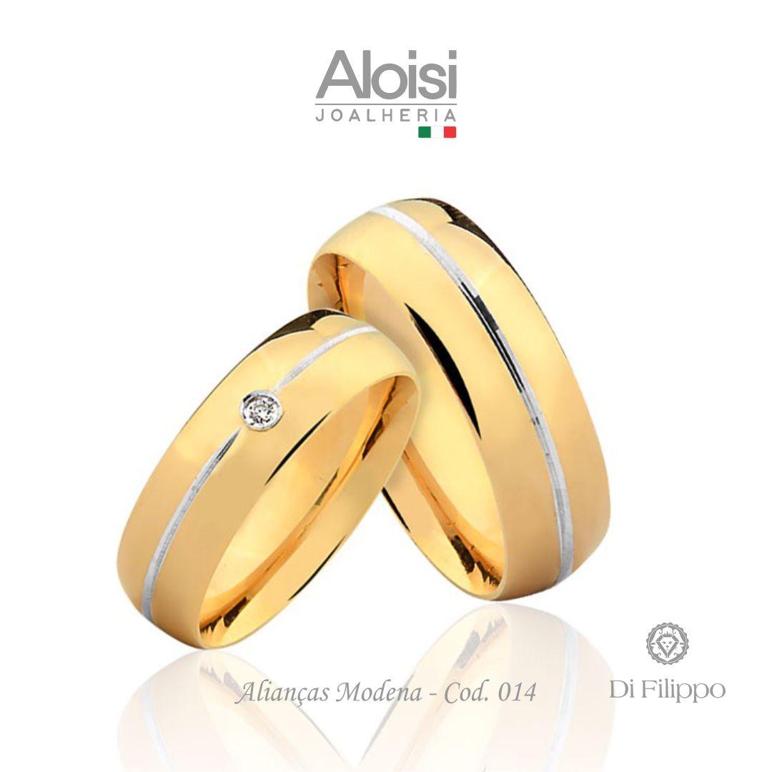 Par De Alianças De Casamento Modena Em Ouro Amarelo 18k