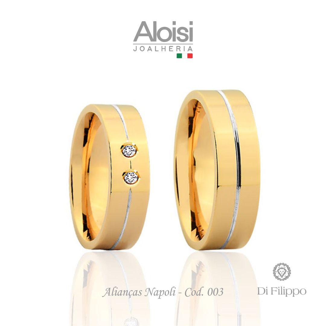 Par De Alianças De Casamento Napoli Em Ouro Amarelo 18k
