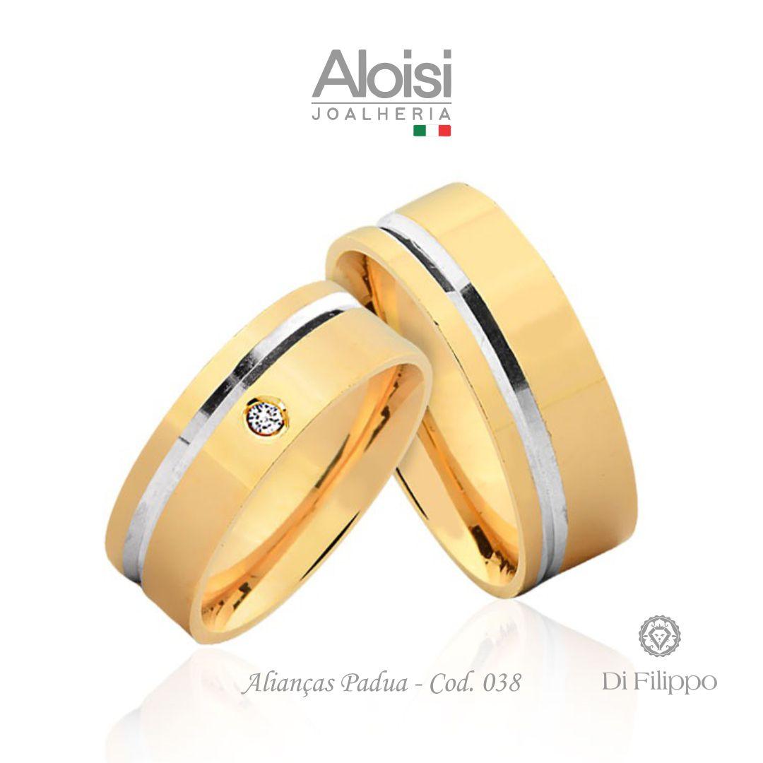 Par De Alianças De Casamento Padua Em Ouro Amarelo 18k