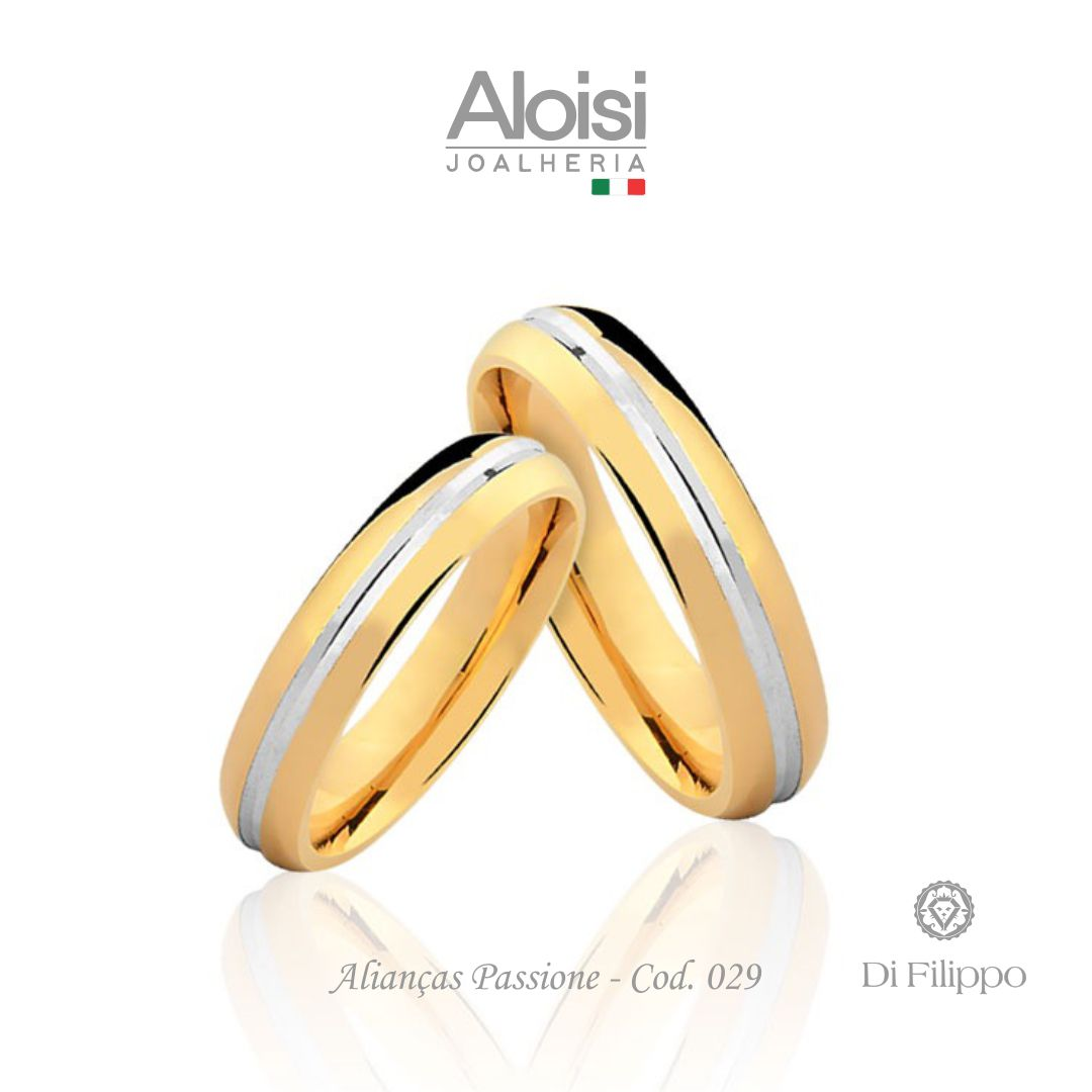 Aliança Casamento Ouro Amarelo 18k - Passione - Di Filippo