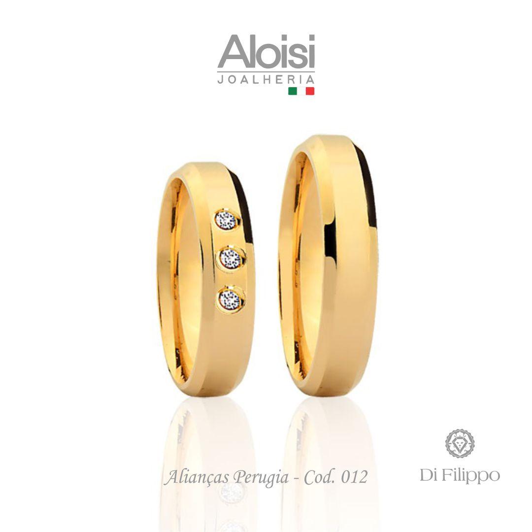 Par De Alianças De Casamento Perugia Em Ouro Amarelo 18k