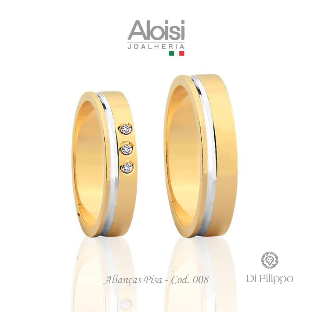 Aliança Casamento Ouro Amarelo 18k - Pisa - Di Filippo