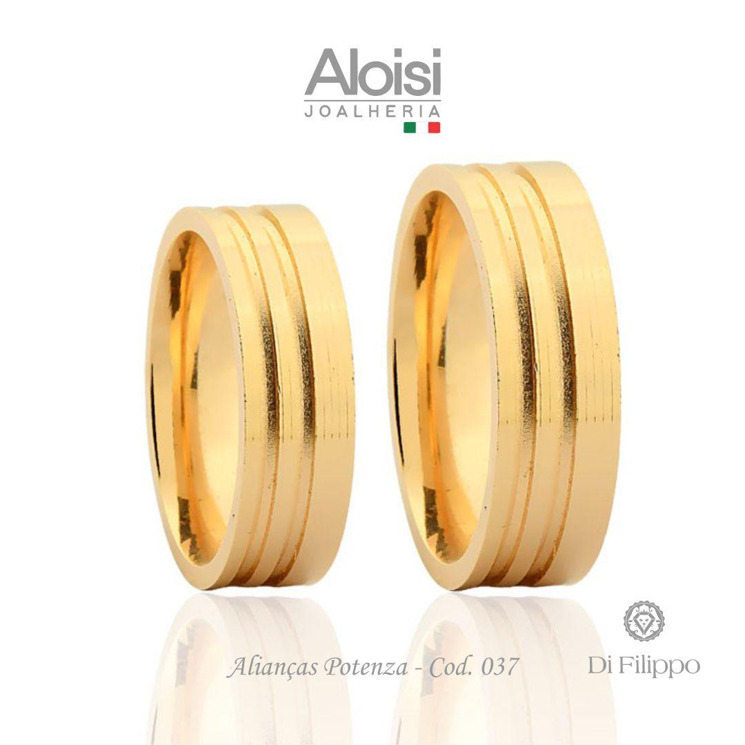 Par De Alianças De Casamento Potenza Em Ouro Amarelo 18k