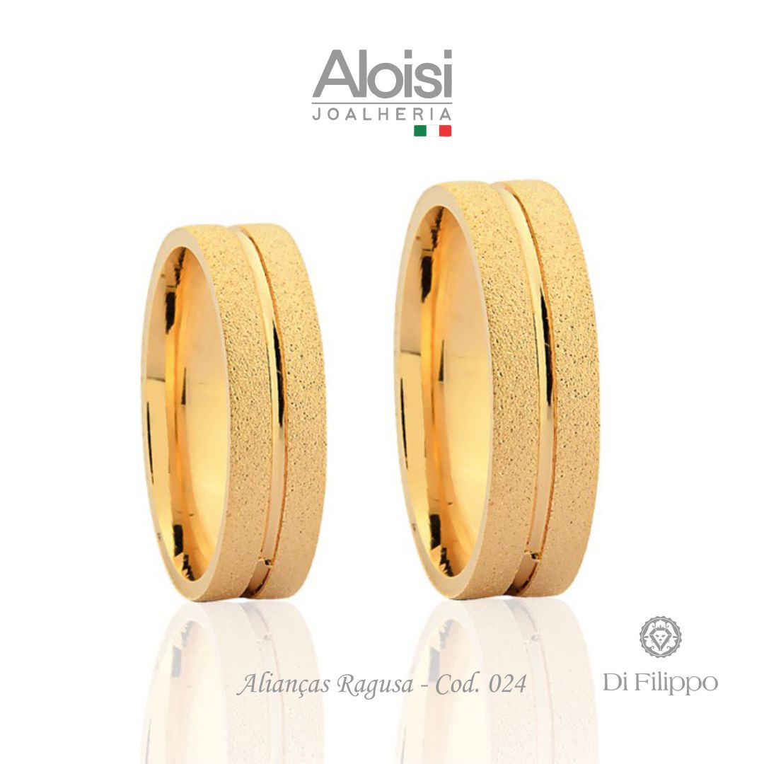 Par De Alianças Casamento Ouro Amarelo 18k - Ragusa - Di Filippo
