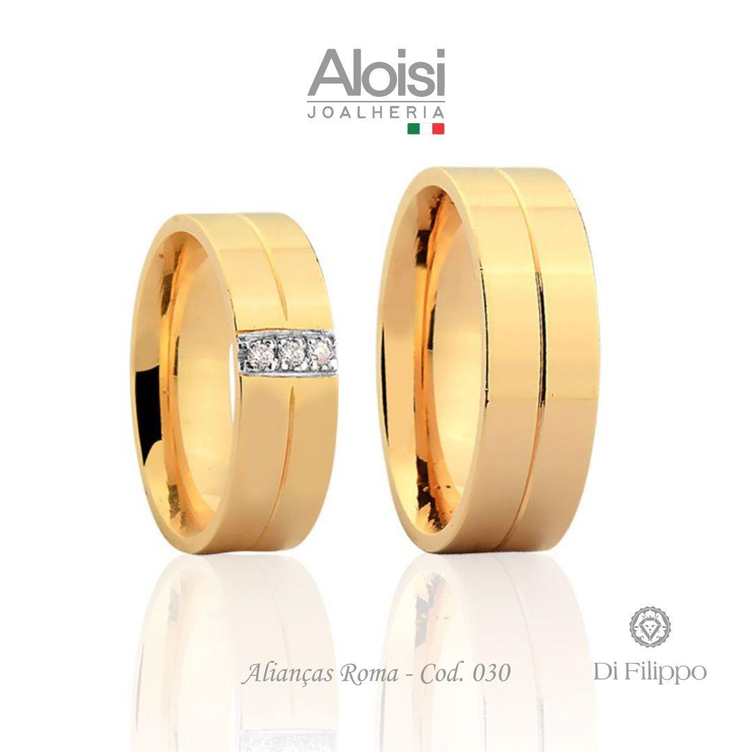 Par De Alianças Casamento Ouro Amarelo 18k - Roma - Di Filippo